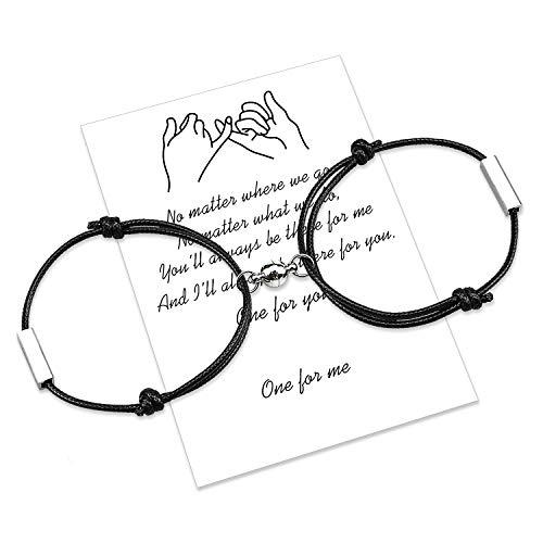 Pulsera magnética personalizada para parejas, cuerda hecha a mano de atracción mutua grabada para 2 pulseras trenzadas a juego, regalo de San Valentín (Nero-Nero)