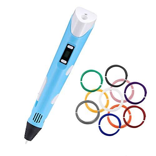 LemonDM DIY 3D Druck Stift, Digital Display Intelligente 3D Stift, 3D Graffiti Zeichnung Stift, Stift PLA Filament für Kinder Pädagogisches Spielzeug Geschenk (Blue 50M ABS)