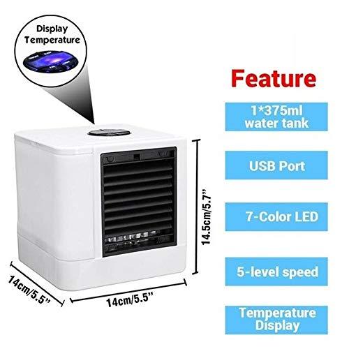 Mini portátil del ventilador del acondicionador de aire, 7 colores Luz acondicionado purificador del humectador, escritorio del aire del ventilador enfriador USB con 5 ajustes de velocidad y dos tanqu