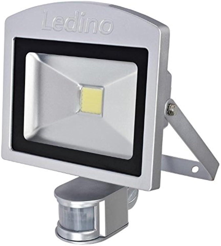 LED Auenleuchte Strahler mit IR-Bewegungssensor 20 Watt Ledino  Gehusefarbe  Silber, Lichtfarbe  Kaltwei