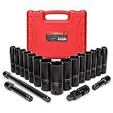 CASOMAN Complete 1/2-Inch Drive Deep Impact Socket Set, Metric, CR-V,10-24mm, 6...