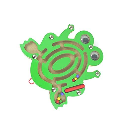 fedsjuihyg Magnética Laberinto Mini Pluma Animal Conducción de Madera de Bolas Laberinto de Juguetes educativos para los niños imán Laberinto-Rana