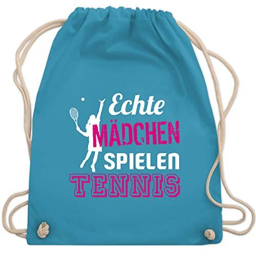 Shirtracer Tennis - Echte Mädchen spielen Tennis - Unisize - Hellblau - tennis maedchen - WM110 - Turnbeutel und Stoffbeutel aus Baumwolle