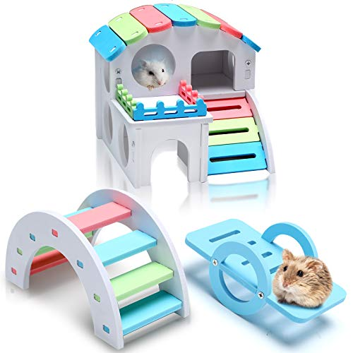 3 Pieces Fun Hamster Toys Include Wooden Hamster House, Rainbow Bridge, Hamster Seesaw Toy DIY Wooden Exercise Play Toys for Small Hamsters Mice Gerbils and...