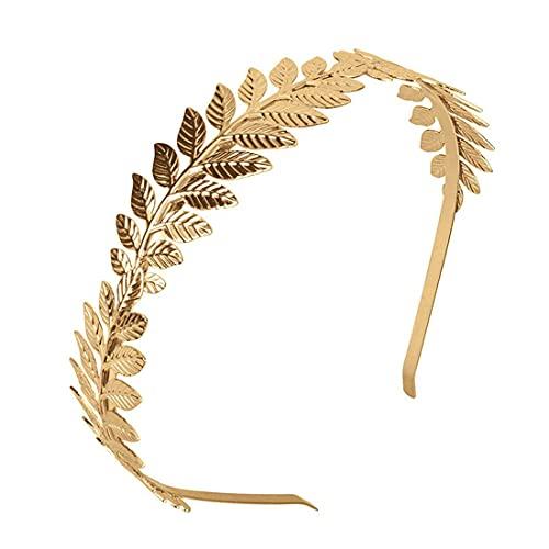 XCOZU - Corona de hojas romanas, tiara de oro con banda de...