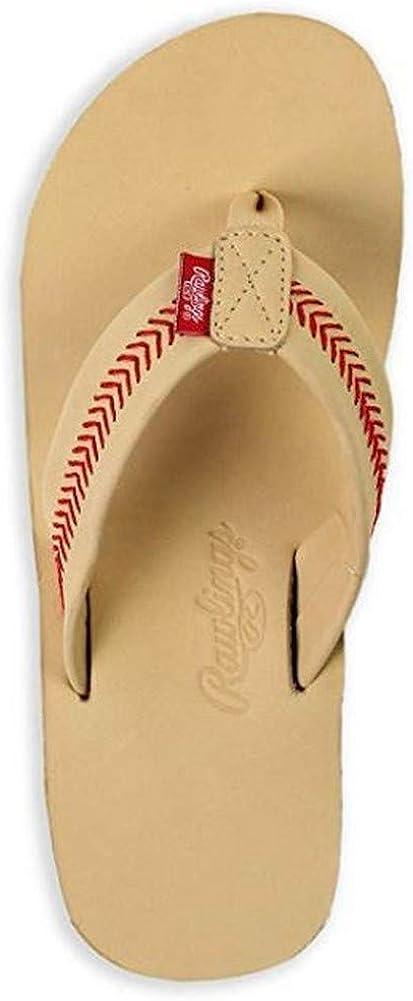 Rawlings Men's Baseball Flip Flop Sandals Stitch Nubuck Leather (Sand, 2XL)