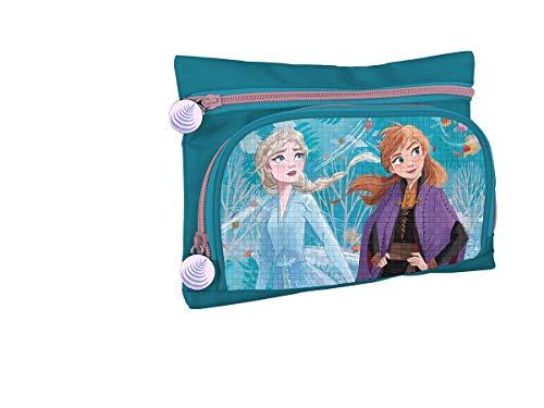 Astuccio Con 2 Tasche/Cerniere Frozen 2 Elsa E Anna Personaggi In Rilievo