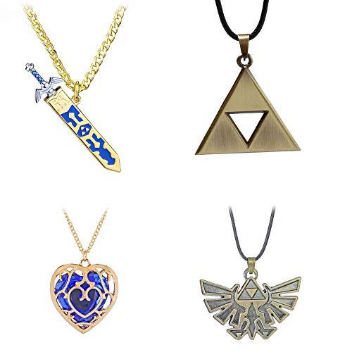 Imcneal 4 collares con el logotipo de la leyenda de Zelda, diseño de espada y corazón, para cosplay