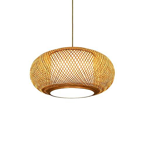 KAIKEA Lámpara Colgante de Mimbre de bambú Retro con semicírculo de Estilo japonés, lámpara Colgante de Techo de ratán, Pantalla Tejida a Mano, portalámparas E27, una Sola Cabeza, Ajustable, Pasillo,