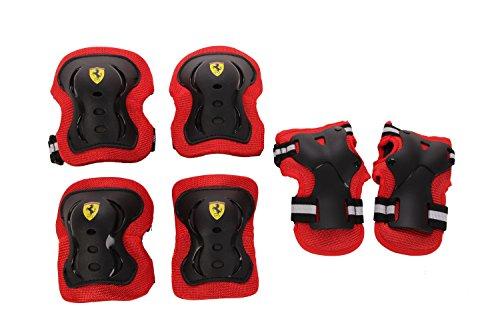 Ferrari(フェラーリ) キッズ用プロテクター3点セット(ひじ・ひざ・手のひら) Mサイズ(自転車・キックスクーター・スケートボードなど) ブラック 36763