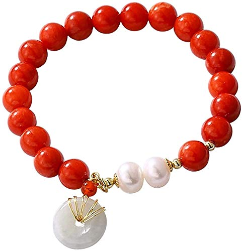Gymqian Feng Shui Wealth Bracelet for Women Hetian Nephrite Jade Ancient Coin/Harmony Buckle Lucky Charm South Red Agate Carnelian Natural Pearls Crystal Bracelet for Money Daily we