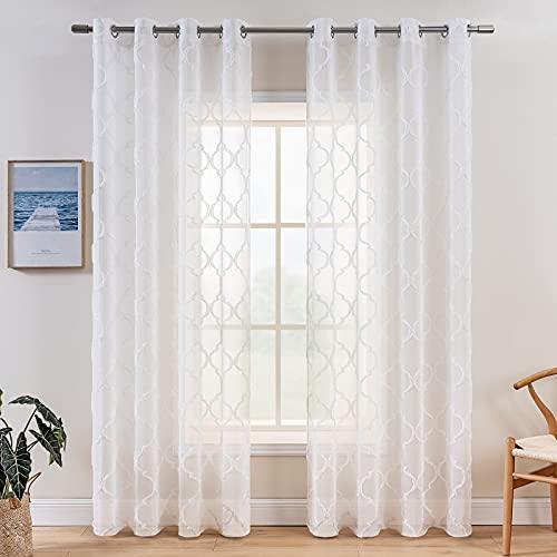 MIULEE 2 Piezas Cortinas Translúcidas Visillos Diseño Moderno Cortina Transparente para Salon Dormitorio Habitacion Sala de Estar Ventana Comedor 140x225 cm Blanco