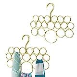 mDesign Juego de 2 perchas para pañuelos o corbatas – Organizador de pañuelos con 18 aros para organizar – Organizador de armarios para colgar toallas, corbatas, cinturones – Color dorado/latón
