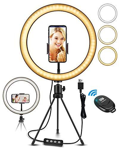 "Oferta de ELEGIANT Aro de Luz LED Fotografia 10.2"" de Escritorio, Anillo de Luz con Trípode Control Remoto Inalámbrico, 3 Colores, 11 Brillos, Altura Regulable para Móvil Selfie Maquillaje Youtube TIK Tok Live"