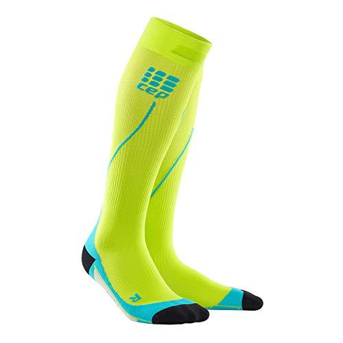 CEP - RUN SOCKS 2.0, long running socks for men, green / light blue, size III, compression sport socks