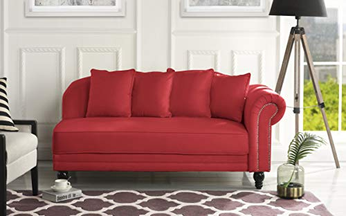 Sofamania Large Classic Velvet Fabric Living Room Chaise Lounge with Nailhead Trim (Red)