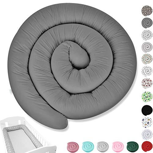 Bettschlange XXL 300cm XL 155cm Bettumrandung Nestchen Schlange Handmade aus Zertifizierte Materialien 100% Baumwolle minky ekmTRADE (300 cm, 30)