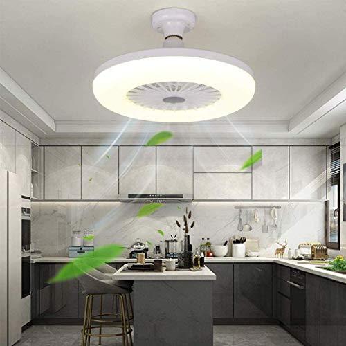 Ventilador de techo LED con iluminación de 18 W, iluminación invisible, creativo y moderno, E27, luz no regulable para dormitorio o salón.