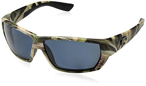 哥斯达黎加Del Mar的男子金枪鱼巷580P矩形太阳镜,莫西奥克影草/灰色蓝色镜像偏光-580P,62毫米