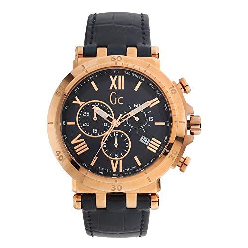 Gc Watches Insider Herren Uhr analog Schweizer Quarzwerk mit Leder Armband Y44003G7