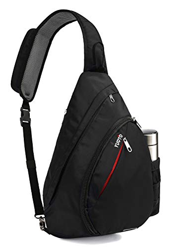Sling Bag, Crossbody Backpack Daypack One Strap Shoulder Bag Traveling Men Women BLACK