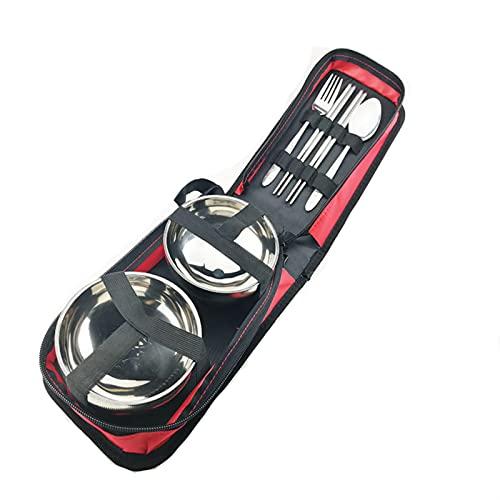 Vajilla portátil Utensilios portátiles Conjunto de cubiertos de acero inoxidable Camping Cubiertos Camping Portable Camp Reutilizable rojo