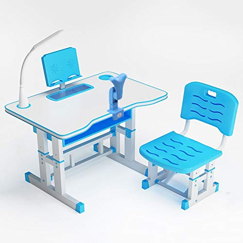 Kids Study Desk and Chair Set, School Bedroom Student Writing Desk W/Pull Out Drawer Storage, Height Adjustable Kids Desk and Chair Set,Ergonomic Student Writing Desk for Studying80CM-blue