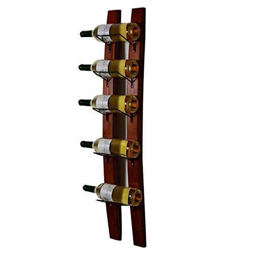 Xing Hua home Réverbères Casier à vin 5 Bouteilles Suspendu Rack casier à vin en Bois Massif Mural casier à vin Restaurant Bar Suspendu Réverbères (Color : Brown, Size : 19.5 * 102 * 3cm)