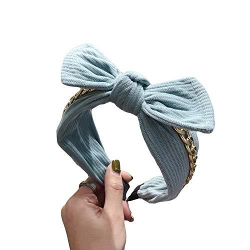 Dontdo Femmes Mode Bowknot Chaîne Large Bord Bandeau Cheveux Créoles Accessoires Mode Bandeau Lavage Visage Bandeau Cheveux Bandeau Bleu d'eau