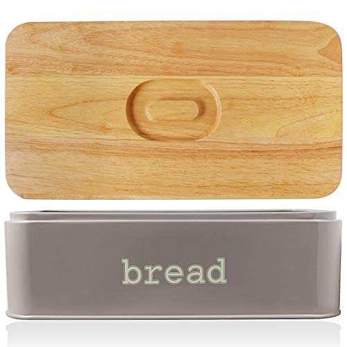 Bread Box with Oak Lid Extra Large Bread Bin of Wooden Chopping Board with Handle Food Storage for Kitchen Countertop