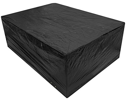 Woodside Black Large Patio Set/Oval/Rectangle Table Cover Garden Outdoor Furniture Cover 2.8 m x 2.06 m x 1.08 m/9.2 ft x 6.75 ft x 3.5 ft