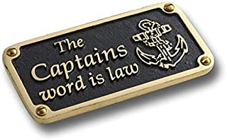 The Metal Foundry Nautical Themed Gift Plaque. Captain's Word Boating Or Sailing Brass Sign is A Great Birthday Present for Him Or Her