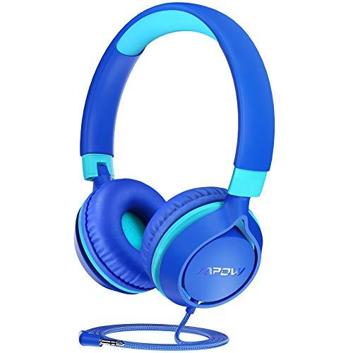 Auriculares para niños Mpow CHE1, Volumen Limitado en el oído Auriculares para niños con Conector de Audio de 3.5 mm para niñas y niños, Auriculares con Cable Ajustable y Plegable