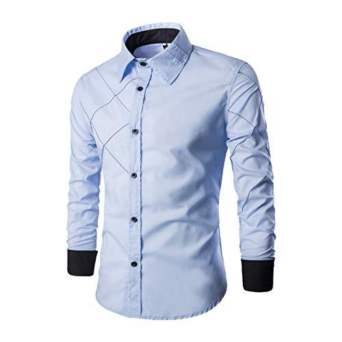 Camisa de Vestir Ajustada a la Moda para Hombres Camisa Informal de Manga Larga con Botones, para Trabajo de Oficina, Eventos Formales e Informales 3XL