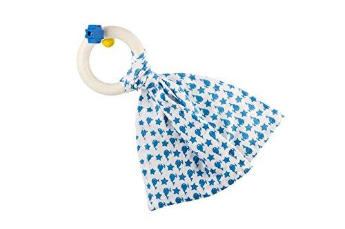 Little big things - Greifling Bib0+, blau [ab 0 Monaten] (Babyspielzeug, Motorikspielzeug, Beißring, Holz, Baumwolle, nachhaltig, Kleinkind)