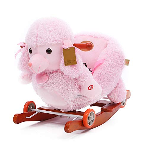 Rocking Chair Pink Poodle Rocking Horse, kid Ride-On Toys, Toddler Rocker For 1-3 Years Old, Boy & Girl Wooden Ride Horse Toy, Outdoor&Indoor Plush Rocking Horse For Children, Child Birthday Gift Rock