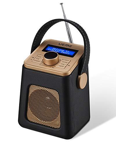 UEME Mini DAB+ DAB Digitalradio und UKW Radio mit Bluetooth Lautsprecher, Radiowecker, und Leder Verkleiden (Schwarz)