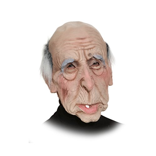 NET TOYS Opa Maske Alter Mann Faschingsmaske Professor Latexmaske Alte Haut Halloweenmaske Falten Gesicht Herrenmaske Horror Karnevalsmaske Karnevalskostüme Accessoires