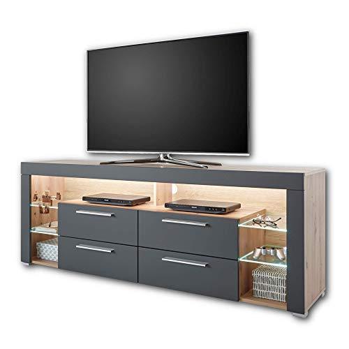 GOAL TV-Lowboard in Artisan Eiche Optik, Grau mit LED-Beleuchtung - hochwertiges TV-Board mit viel Stauraum für Ihr Wohnzimmer - 179 x 66 x 44 cm (B/H/T)