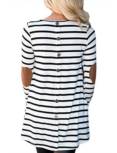 Sematomala Women's Stripe Elbow Patch Long Sleeve Back Button Down Shirts Dresses Striped Christmas Tunic Tops(WH,L) White
