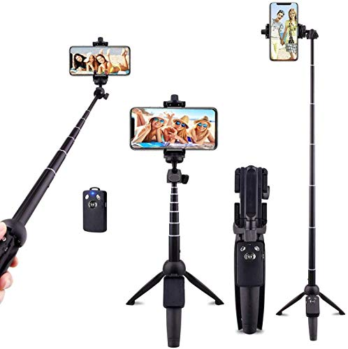 LucaSng Selfie Stick Trípode portátil extensible de 102 cm con mando a distancia inalámbrico, compatible con iPhone 11/11 Pro/XS Max/XR/X/8 Plus, Galaxy S9/Note 8, Gopro y dispositivos Android