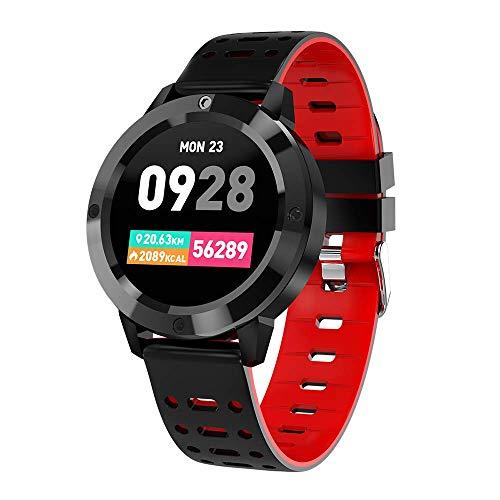 ZY Smart Watch, Tracker Fitness Sportivo con cardiofrequenzimetro, Schermo a Colori Bluetooth Smartwatch pedometro, Monitor del Sonno, notifica di Chiamata SMS per Uomo Donna,Red