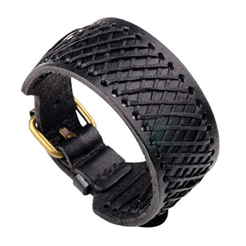 ESCYQ Männer Armbänder Armband Bettelarmband,Leder Schwarz Armband Männer Mode Ritter Mut Verband Wrap Leder Armbänder Für Frauen Männer Schmuck