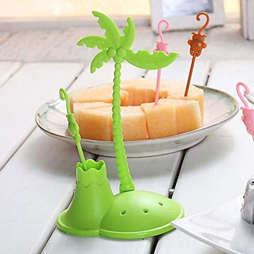 WUSYO Monkey Shape Plastikset Kokosnussbaum Gabeln Salat Dessert Kuchen Gabel, grün