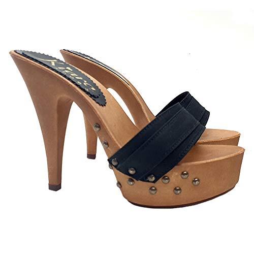 Kiara Shoes Zoccoli con Base MOU & Borchie dal 35 al 42 - Tacco 13 - K9333-NERO (42 EU, Nero)