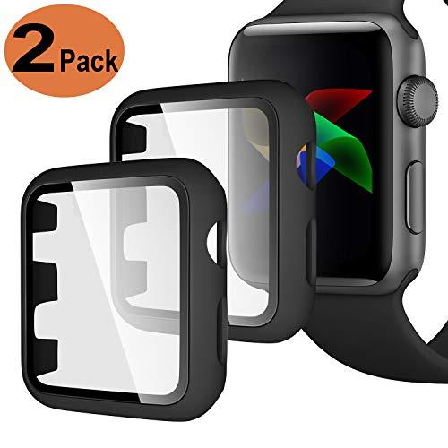 Upeak Compatible con Apple Watch Series 1/2/3 42mm Funda con Vidrio Templado, 2 Piezas Caja Protectora para Mujeres Hombres Compatible con iWatch 1 2 3, Mate Negro