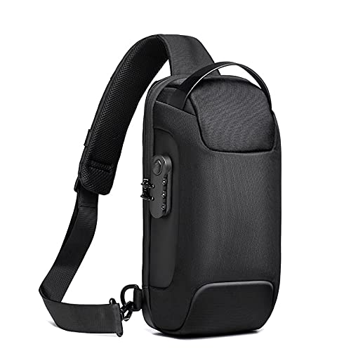 Bolsa de Cabestrillo Impermeable Hombro Hombro de Alta Capacidad, Bolsa de Pecho Carga USB Ligero Peso Casual Viajando Daypack, Ciclismo Black
