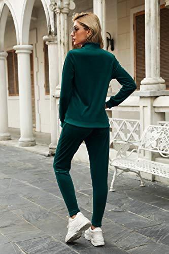 Irevial Womens Pyjama Set Loungewear Long Sleeve Fleece Velvet Sport Workout Tracksuits Jogging Sportwear 2 Piece Deep Green