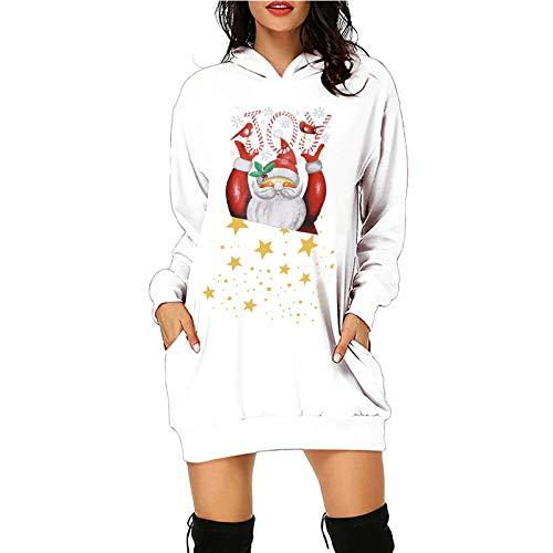 BATKKM Women's Reindeer Elk Hooded Dress Cozy Long Sleeve Bag Hip Pocket Merry Christmas Pullover Hoodie Sweatshirt(D-White,M)