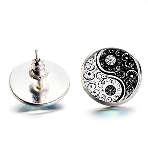 Gothic White and Black Yin Yang Tai Chi Vine Tattoo Print Earrings, Yoga Zen Spiritual Stud Earrings Handicrafts